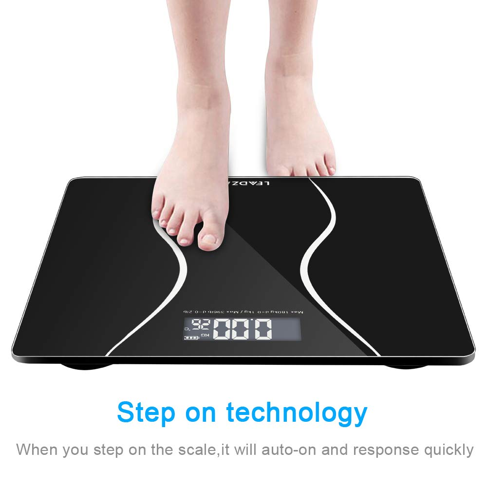 Acazon Digital Body Weight Bathroom Scale with Step-On Technology and Backlight,Temperature Display,6mm Glass and max Weight 400 Pounds,US SYOCK