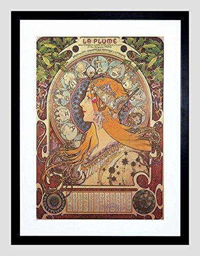 Alphonse Mucha Art Nouveau Old Master Black Framed Art Print Picture B12X348