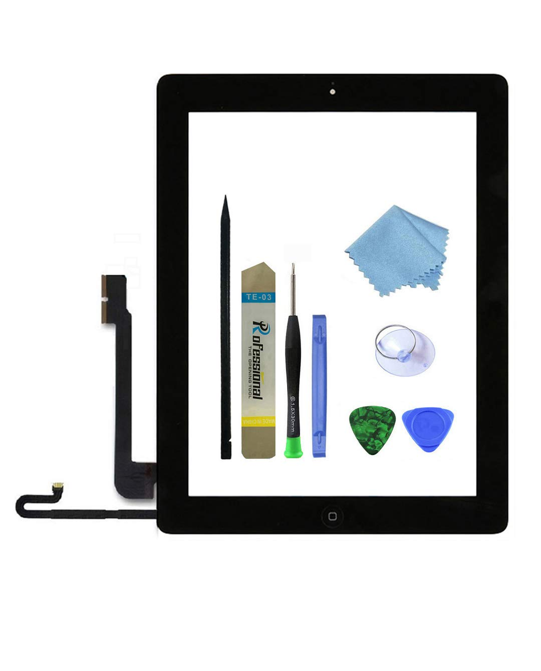 Zentop Touch Screen Digitizer replacement Assembly for Black iPad 4 Model A1458, A1459, A1460 whith Home Button, Camera Holder ,Preinstalled Adhesive,Frame Bezel, tool Kit.