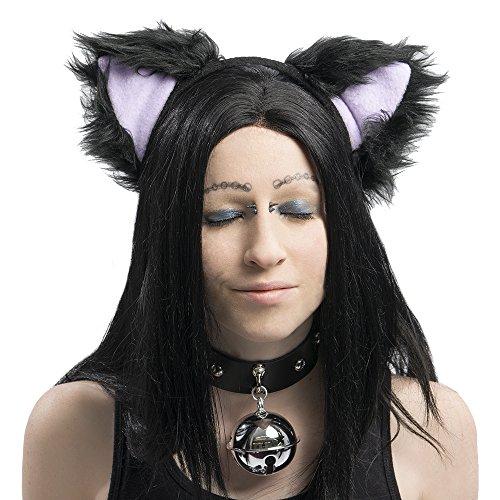 Pawstar Basic Black Kitty Cat Furry Ear Headband Adult Size Costume - (Purple Kitty Costume)