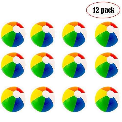 Beach Balls (12 Pack) - Inflatable Rainbow Beach Balls Beach Pool Party Toys Party Favors, Summer Swimming Pool Beach Floating -