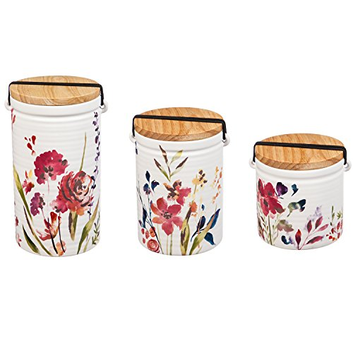 Cypress Home Watercolor Boho Ceramic Canisters, Set of 3 Varying Sizes