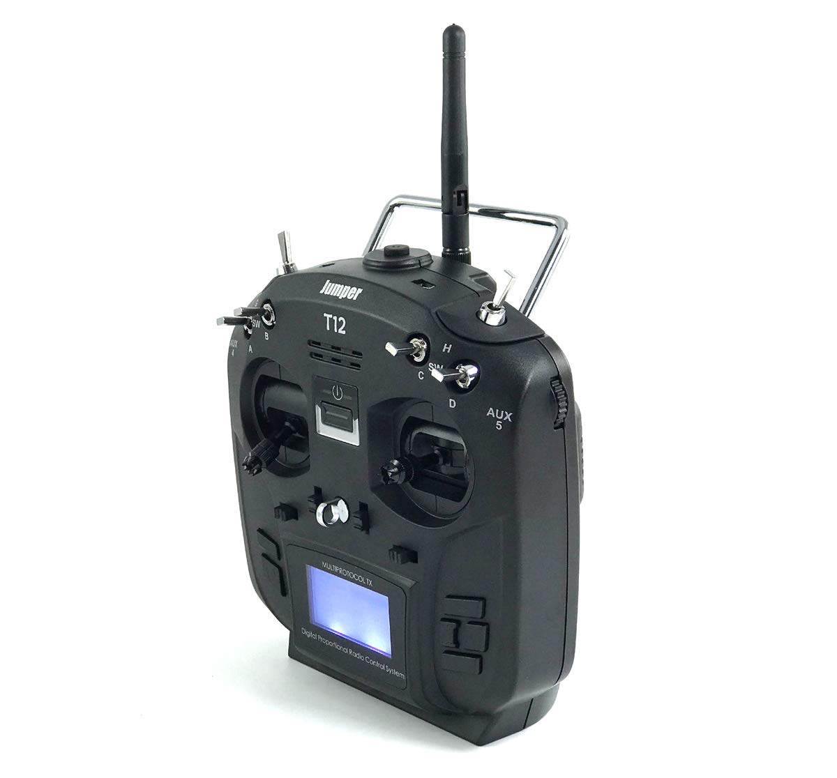 Jumper T12 2 4G 12 Channel OpenTX Multi-Protocol Transmitter Hall Gimbal w/  4-in-1 Module 1 7 inch LCD - Mode 2 (Black)