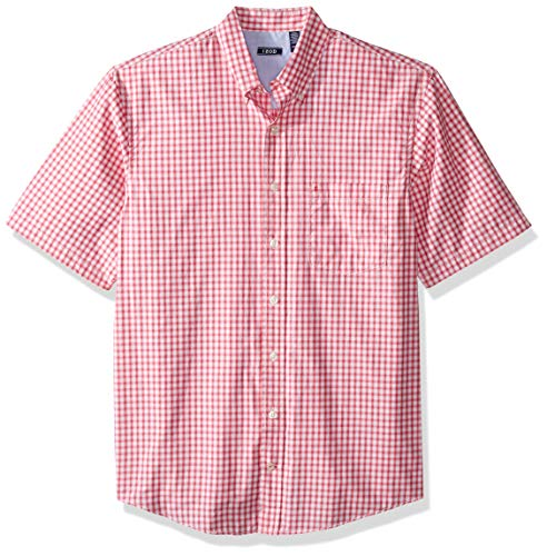 (IZOD Men's Big and Tall Breeze Short Sleeve Button Down Gingham Shirt, Honeysuckle, Large)