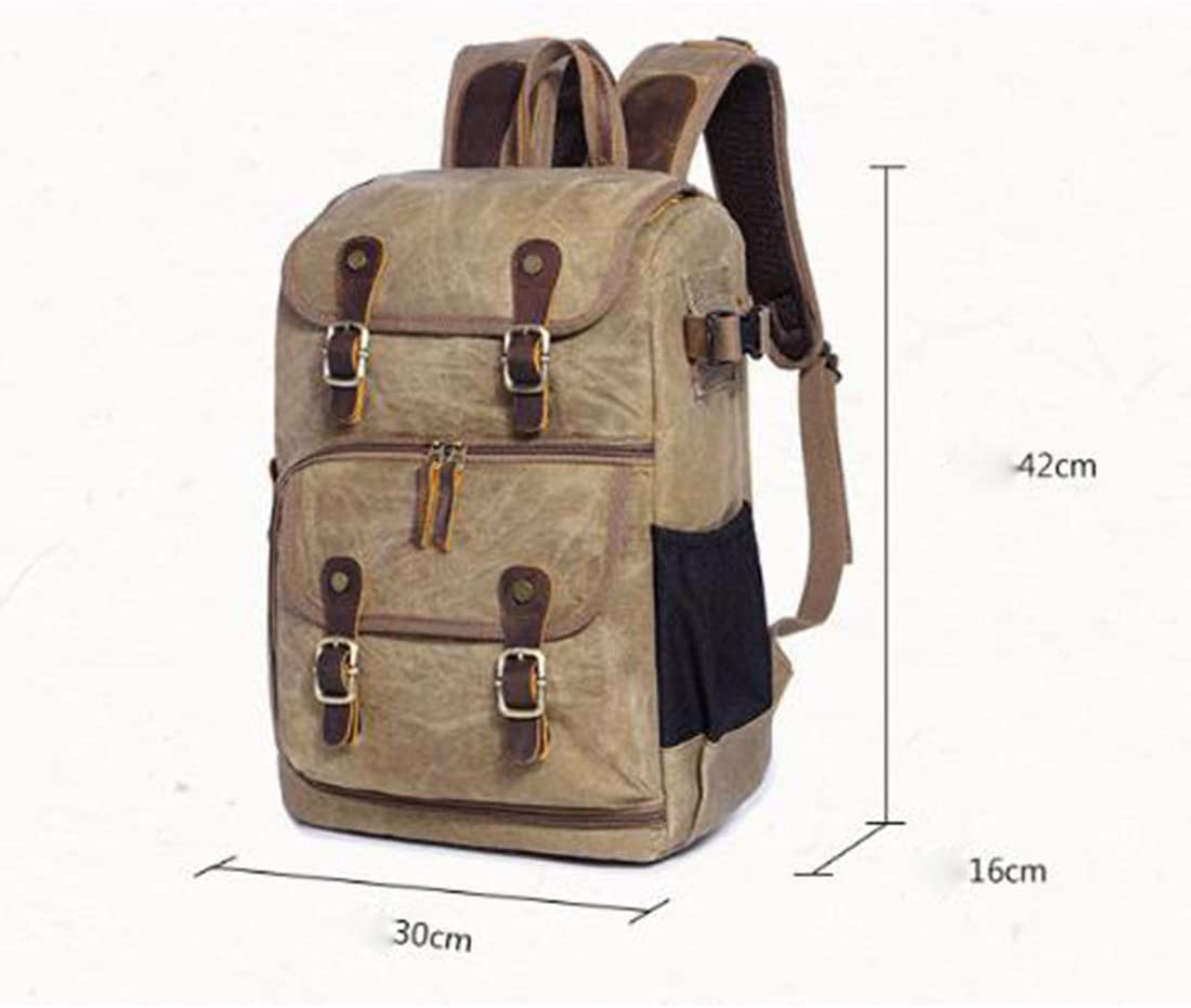 Color : Army Green AIYAMAYA Photography Bag Camera SLR Shoulder Photography Backpack Waterproof Large Capacity Wax Dye Canvas Backpack Outdoor Bag