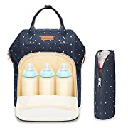 Baby Cloth Diaper Bag Backpack - Polywit (Upgrade Version) 14 Pocket Multi-functional Waterproof Super Large Swim Travel Diaper Bag Organizer, Best for Men, Women and Kids, Blue with White Dots