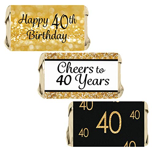 Black and Gold 40th Birthday Party Mini Candy Bar Wrappers | 54 Stickers