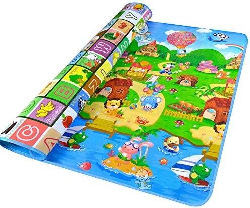 QD-BYM プレイマット 両面 ルームマット クロールマット ベビー 赤ちゃん 遊びマット アルファベット 動物柄 安心 健康
