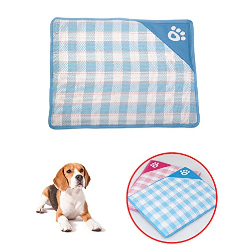 ShangjingMeixie Pet Kennel Cool Mat Pet Summer Cool Woven Mat Pet Cushion,Blue Small by ShangjingMeixie
