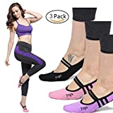 Yoga Socks Non Slip Skid Pilates Barre with Grips Low Cut Cotton for Women Pack of 3 One Size 5-10
