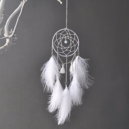 Sundlight 5PCS Mini White Dream Catcher Pendant Iron Ring Feathers with Chain Car Catcher Net Boho Art Home Hanging Ornaments for Car Charm Rear View Mirror Accessories,8cm/3.15'' by Sundlight