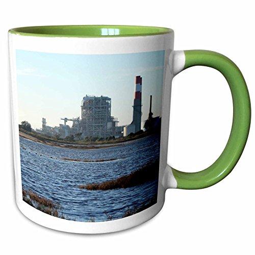 3dRose Henrik Lehnerer Designs - Industrial - Natural gas power station near Oxnard California. - 11oz Two-Tone Green Mug - Oxnard Outlet