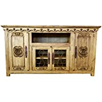 Hi End Rustic Medieval Hand Scrape TV Stand Available In 9 Colors (80 inch long, Rustic Honey)