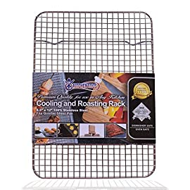 """KITCHENATICS Professional Grade Stainless Steel Cooling and Roasting Wire Rack Fits Half Sheet Baking Pan for Cookies, Cakes Oven-Safe for Cooking, Smoking, Grilling, Drying - Heavy Duty Rust-Proof 4 COMMERCIAL GRADE 304 (18/8) STAINLESS STEEL cooling rack, RUST RESISTANT, NONTOXIC and DISHWASHER_SAFE for long-lasting durability. SUPREME DURABILITY with 1-INCH (1"""") IN HEIGHT for optimal airflow, allows air to circulate around all sides of the pan for absolutely perfect cooking and cooling. OVEN-SAFE to 575˚F for effective roasting, and best for grilling, baking, broiling, smoking, bbq and drying. There is no need to flip your food while cooking. You will get a crisp and juicy chicken, bacon, turkey, pulled pork, bbq ribs and other meat and vegetable dishes without any sweating."""