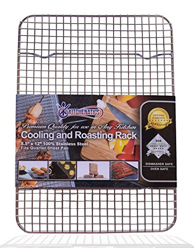 "KITCHENATICS 100% Stainless Steel Wire Cooling and Roasting Rack Fits Quarter Sheet Size Baking Pan, Oven Safe, Commercial Quality, Heavy Duty for Roasting, Drying, Grilling (8.5"" X 12"")"