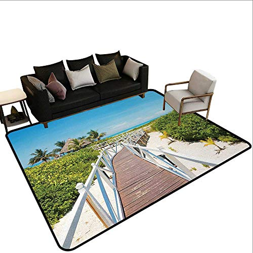 Throw Rugs Beach,Wooden Walkway Bridge Leading to The Beach Cuban Exotic Destination Purity Pleasure,Multicolor,for Living Room Bedrooms Kids Nursery Home Decor 2'x 4'