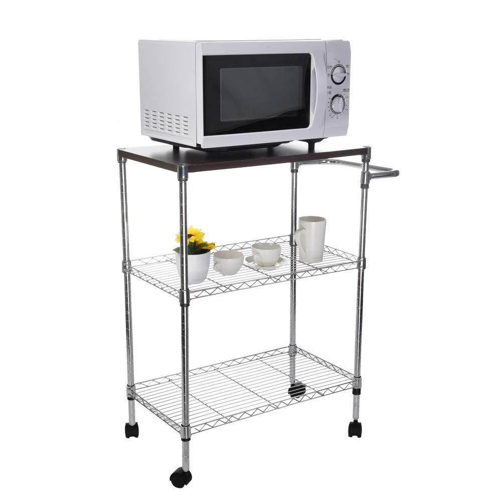 ChainSee Multi-Function Storage Rack, Microwave Stand Kitchen Oven Rack with Wheeled Wooden Cart, Kitchen Supplies Storage Rack by ChainSee (Image #1)