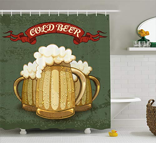 Ambesonne Man Cave Decor Shower Curtain by, Retro Style Poster for Cold Beer Foamy Chilled Mugs Lager Ale Alcohol Drink, Fabric Bathroom Decor Set with Hooks, 70 Inches, Multicolor (Beer Shower Curtain)