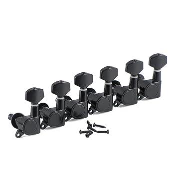 IKN 6 piezas izquierda negro sellado clavijas de afinación Clavijas para guitarra eléctrica