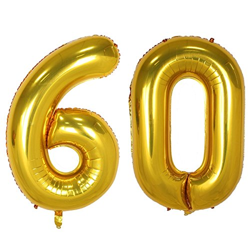 Bechampion 40 Inch Gold 60 Jumbo Digital Number Balloons Huge Giant Balloons Foil Mylar Number Balloons for 60th Birthday Party Decorations and 60th Anniversary Event]()