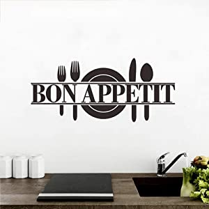 ARTEANUR Kitchen Wall Decor Bon Appetit Peel and Stick Wall Decals Wall Stickers Dining Room Restaurant Kitchen Decor Wall Art Removable Wall Decoration