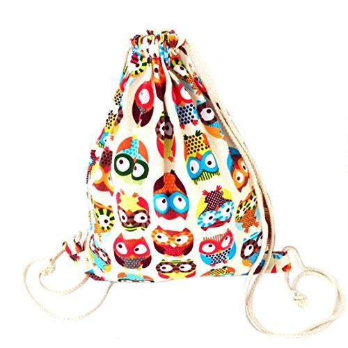 Malloom Las mujeres lechuza lona verano mochila moda paquete Duable bolsas (Buho) Buho