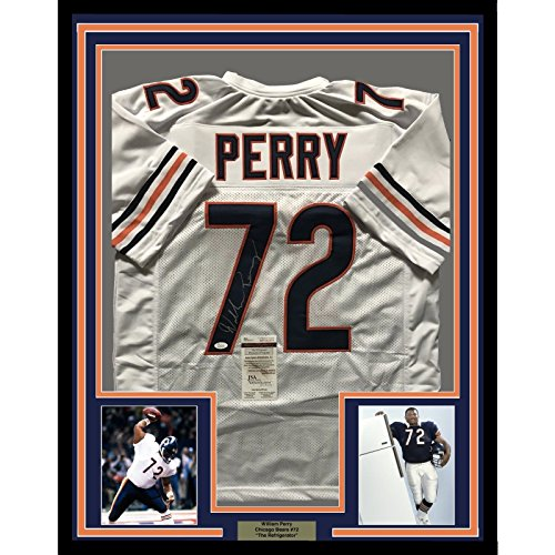 912dfccddab Framed Autographed/Signed William Perry The Refrigerator 33x42 Chicago Bears  White Football Jersey JSA COA