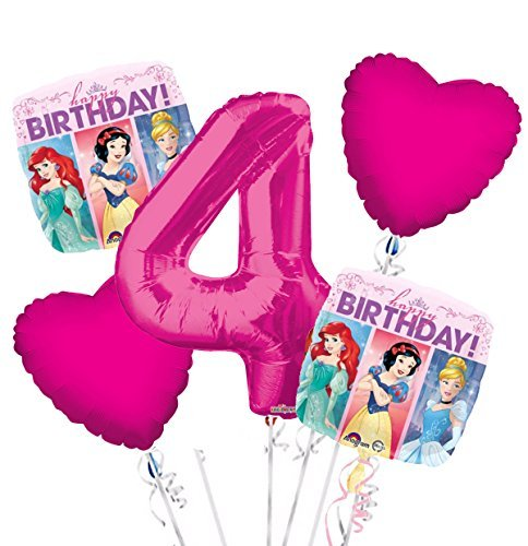 Princess Balloon Bouquet 4th Birthday 5 pcs - Party Supplies