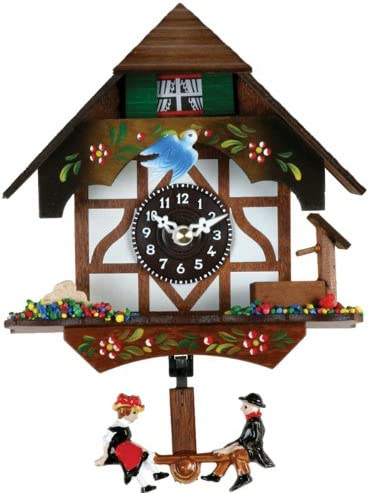 River City Clocks Quartz Novelty Clock – German Chalet with Bird Well – 6 Inches Tall – Model 2070Q-06