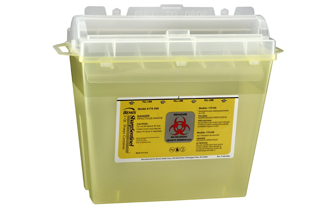 Bemis Healthcare 175040-32 5 quart Sharps Container, Translucent Yellow (Pack of 32)