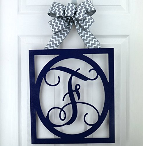 Initial Monogram Door Hanger | Gift for Mom | Framed Wood Letter Wreath - LOTS OF COLOR OPTIONS! - Lot Letter