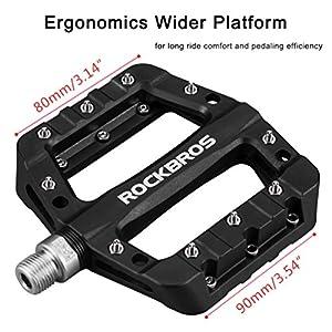 RockBros Lightweight Mountain Bike Pedals Nylon Fiber Bicycle Platform Pedals for BMX MTB 9/16