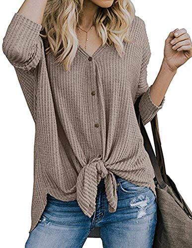 - Womens Plus Size S-XXL Waffle Kint Jumper Top Cardigan Sweater Casual Loose Shoulder Button Down Round Neck Cocktail Party Shirt Blouse Tops