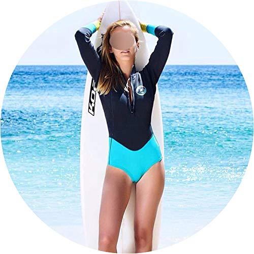 2019 Print Floral One Piece Swimsuit Long Sleeve Swimwear Women Bathing Suit Retro Swimsuit,21,S