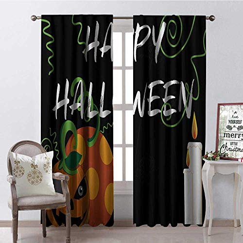 Hengshu Happy Halloween Pumpk Candle Multicolor Room Darkening Wide Curtains Waterproof Window Curtain W120 x L108