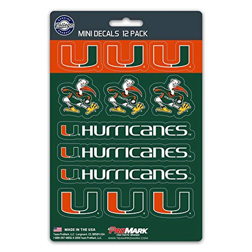 - ProMark NCAA Miami Hurricanes Decal Set Mini (12 Pack), Team Color, One Size