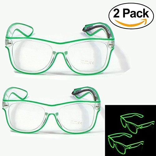 Costumes For People With Glasses (Party Kingdom Neon Led Light Glasses, Wire Glow Light Up Glasses 2 PCS)