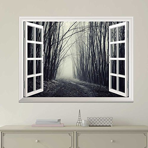 White Window Looking Out Into a Dark Foggy Branch Forest Wall Mural