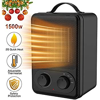 Kitclan Personal Space Heater 1500w For Office Home Bedroom With Safe Over Heat