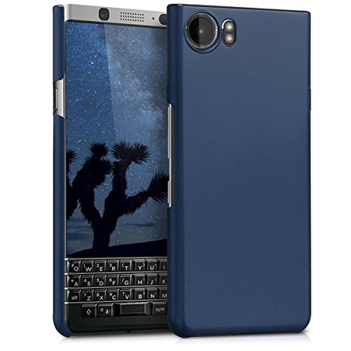 kwmobile Case for BlackBerry KEYone (Key1) - Hard Plastic Anti Slip Grip Shockproof Protective Phone Cover - Metallic Blue