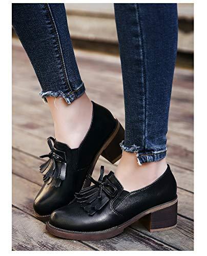 Cuir Noir Style Taille Chaussures Blanc En couleur Britannique Talons Hauts Pour Hwf Femme 36 À Femmes zOZrcAZ87w