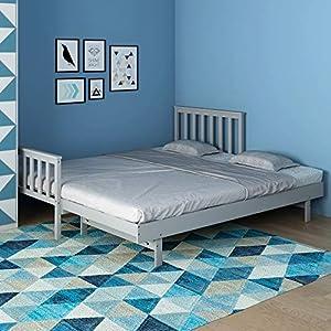 CTlite - Letto singolo in legno estraibile, 3 m, letto per ospiti grigio 2 in 1 con rete a doghe (grigio) 2 in 1 letto 1 spesavip