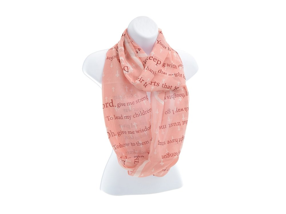 Lightweight Pink Mothers Prayer & Cross Pattern Infinity Scarf