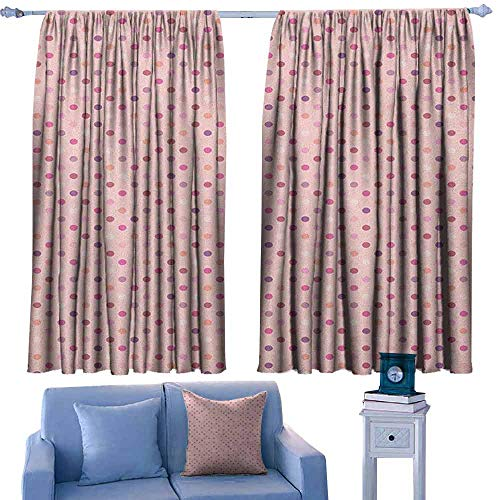 Opehodecor Polka Dots Indoor Curtain Colorful Romantic Polka Dots in Geometric Shapes Vintage Groovy Artsy Print,Decor Room Darkening IDE Curtains,W63 x L72 Inch (Best Ide For Groovy)