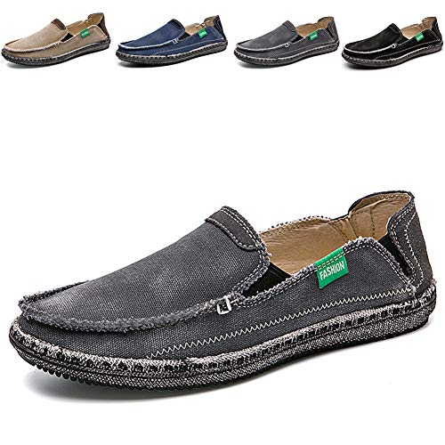 Casual Professional Shoes - CASMAG Men's Casual Cloth Shoes Canvas Slip on Loafers Leisure Vintage Flat Boat Shoes Grey 2 US 10.5 M
