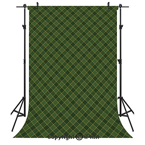 Green Photography Backdrops,Traditional Old Fashioned Argyle Pattern Retro Style Plaid,Birthday Party Seamless Photo Studio Booth Background Banner 5x7ft,Hunter Green Forest Green Yellow