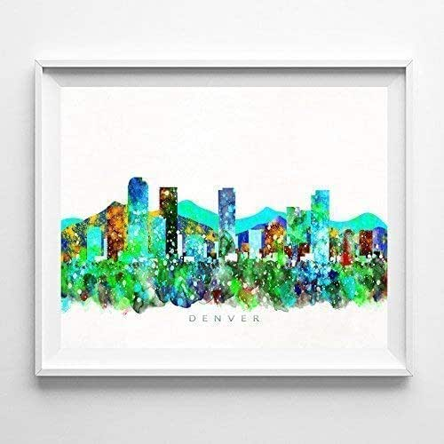 Amazon.com: Denver Colorado Watercolor Skyline Poster Cityscape Wall Art Print Home Decor