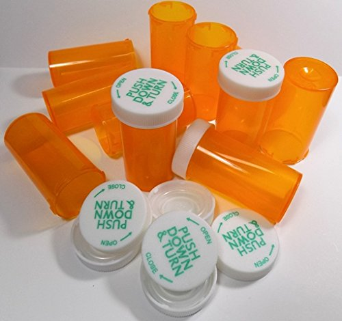 Medicine Pill Bottles w/ Child-Resistant Caps, Amber Pharmacy Grade, Package of 25 - Vial Pill