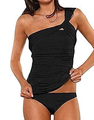 PASLTER Womens One Shoulder Swimsuits Tankini Ruched Swimwear Tummy Control Two Piece Bikini Set