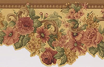 Pink Roses Yellow Floral Wallpaper Border Retro Design, Roll 15' x 5''